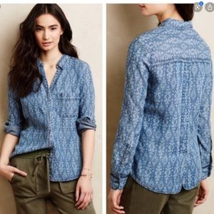 Anthropologie | Ikat Chambray Button Down Top
